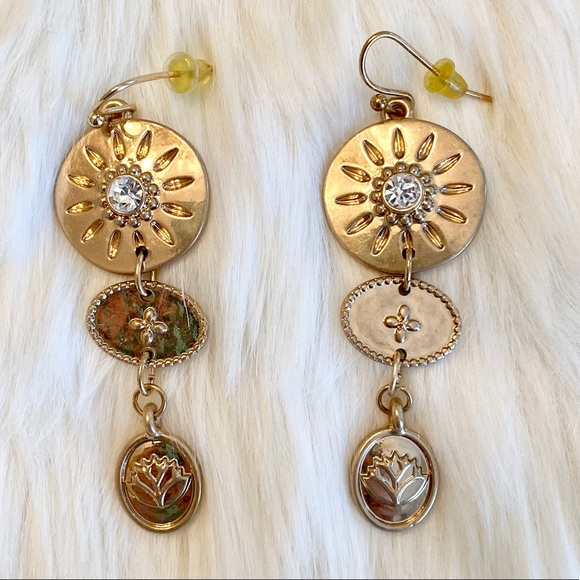New Anthropologie Gold Coin Drop Dangle Earrings